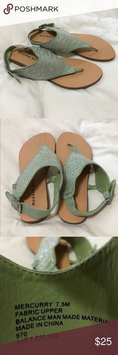 Madden Girl Mercurry Mint Green Dress Sandals These sandals are NWOT. I have looked them over and there are no missing embellishments. I do want to point out that there is a blemish on the left shoe about where the 4th and 5th toe would be. LMK if you have any questions. Thank you! Madden Girl Shoes Sandals