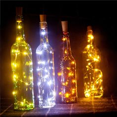 Led Lamps Icoco 2m 20leds Silver Copper Wire Diy Cork Sharped Wine Bottle Stopper String Light For Christmas Halloween Wedding Party Decor