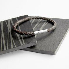 Personalised Men's Capsule Tube Woven Bracelet In Cedar Brown - Angelica Florence Jewellery
