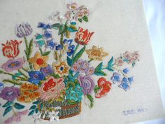 Vintage flower embroidery 1940s embroidery by toastandmarmalade1, $28.00