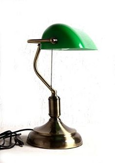 Glitz Banker's Table lamp, Green glass shade, Antique Brass finish.