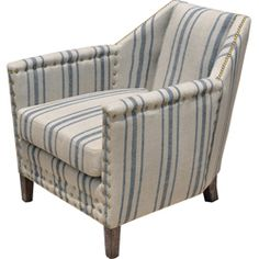 @Overstock - Made of blue striped linen this Carla lounge chair is a great accent item. Bronze nailheads accent the entire piece giving it a bit more formality and the chair is finished in a dark wire brushed distressed finish.         http://www.overstock.com/Home-Garden/Carla-Linen-Lounge-Chair/6783335/product.html?CID=214117 $447.99