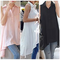 M-XXL Fashion Women's Long Sleeve V-Neck Loose Blouse Lady Casual Long Top Shirt #GL #ButtonDownShirt #Casual