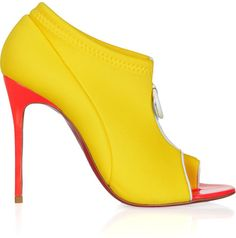 CHRISTIAN LOUBOUTIN YELLOW | Christian Louboutin Yellow Snorkeling 100 Neoprene and Leather Ankle ...