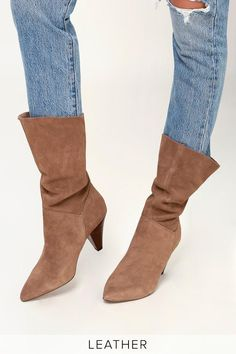9ea3e27c934 Slay through the seasons in the Steve Madden Rein Tan Suede Leather Slouchy  Mid-Calf Boot! These genuine suede leather boots have a throwback look