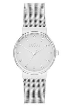 Skagen 'Ancher' Crystal Index Mesh Strap Watch, 26mm available at #Nordstrom