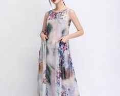 Casual Linen Dress - Pale Gray Everyday Comfortable Fit & Flare Long Maxi Dress with Half Sleeves and Button Front Plus Size Maxi Dresses, White Maxi Dresses, Linen Dresses, Cotton Dresses, Plus Size Outfits, Summer Dresses For Women, Dress Summer, Maxi Robes, How To Look Classy