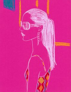 Fashion Illustration - Aimee Levy - monstylepin #fashion #illustration #aimeelevy #crayon #sketch #portrait