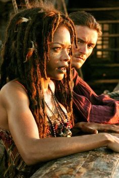 Naomie Harris as Tia Dalma & Orlando Bloom as Will Turner - Pirates of the Caribbean: At World's End