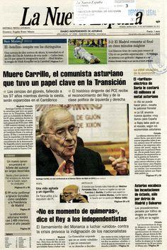 """Noticia sobre el fallecimiento de Santiago Carrillo aparecida en primera plana del periódico """"La Nueva España"""" del 19 de septiembre de 2012"""