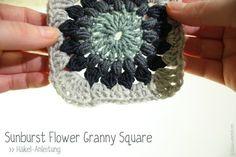 Sunburst Flower Granny Squares   Häkel-Anleitung #crochettutorial #freecrochetpattern