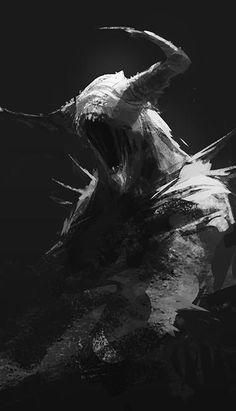 art oscuro Demon sketch by mrNepa Dark Creatures, Mythical Creatures Art, Fantasy Creatures, Monster Concept Art, Monster Art, Creature Concept Art, Creature Design, Arte Horror, Horror Art