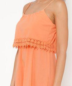 Look what I found on #zulily! Orange Lace Trim Popover Dress #zulilyfinds