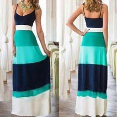 Light Blue Color Block Condole Belt Bohemian Maxi Dress