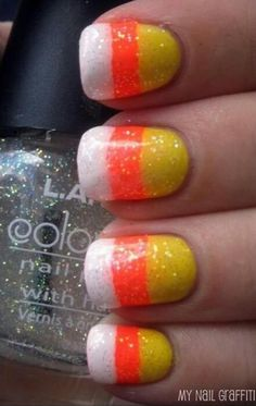 Easy candy corn design for halloween! now I want candy corn Cool Easy Nails, Easy Nail Art, Simple Nails, Fancy Nails, Love Nails, Pretty Nails, My Nails, Pink Nails, Halloween Nail Designs