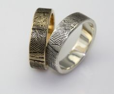 Fingerprint engagement rings and wedding bands are as unique as you things-i-didn-t-know-existed-but-am-glad-they-do Wedding Men, Wedding Engagement, Dream Wedding, Engagement Rings, Wedding Ideas, Wedding Shit, Wedding Bells, Wedding Stuff, Fingerprint Wedding Bands