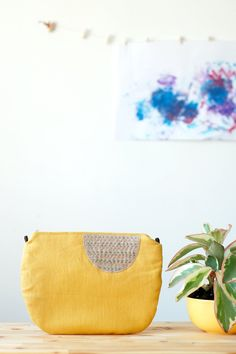 Mustard yellow linen bag, hand #embroidered linen #clutch, small #crossbody bag with removable leather strap - Doodles Collection - by Mundo Flo
