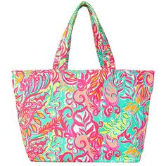 Lilly Pulitzer Beach Tote Bag - Little Tiger ($68) ❤ liked on Polyvore featuring bags, handbags, tote bags, canvas beach tote bag, white canvas tote, canvas beach tote, beach tote and white handbags