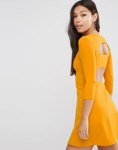 Image 1 ofASOS Mini Skater Dress with Cut Out Back
