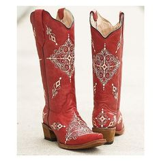 Circle G Embroidered Cowboy Boot (245 AUD) ❤️ liked on Polyvore featuring shoes, boots, red, embroidered shoes, western style boots, red western boots, cowgirl boots and cowgirl style boots -- Another Gorgeous pair of boots- Gato