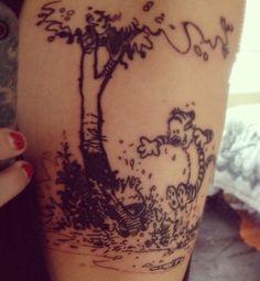 Calvin and Hobbes tattoo Calvin And Hobbes Tattoo, I Tattoo, Tattoo Quotes, Sunflower Tattoos, Great Tattoos, Skin Art, Tattoo Inspiration, Ear Piercings, Tattoo Designs