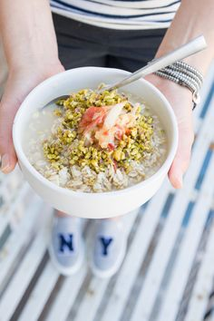 COCONUT + PEAR BIRCHER MUESLI WITH GRATED APPLE + CRUSHED PISTACHIOS — EAT REAL FOOD