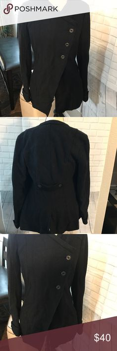 Free People black assymetrical jacket 4 Preowned no damage size 4 button down jacket Free People Jackets & Coats Pea Coats