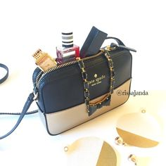 """Kate Spade Color Block cross-body ♠️ SIZE 4.7""""h x 7""""w x 1.6""""d drop length: 23.5"""" total strap length: 47.2"""" MATERIALS smooth leather capital kate jacquard lining DETAILS crossbody with zip closure interior double slide pockets gold foil emboss with floating metal spade kate spade Bags Crossbody Bags"""