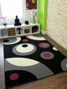 Florence 269 - Tapetes retro chic con diseño de patrón de círculos a precios asequibles. En negro y gris - 4 Tamaños: Amazon.es: Hogar