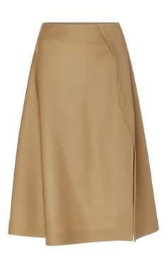 This **Rochas** skirt is rendered in wool and features an a-line shape with a mid rise waist and a front opening.