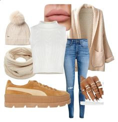 Untitled #32 by jasmine-tolley ❤ liked on Polyvore featuring Woolrich, Helmut Lang, WithChic, H&M and Puma
