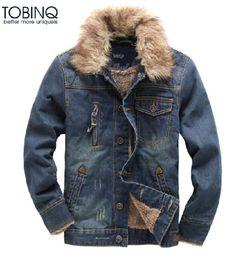 New-Mens-Denim-Fur-Collar-Fleece-Lined-Thicken-Warm-Winter-Jacket-Coat-Outwear
