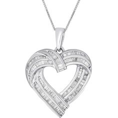 Sterling Silver .90ct TDW Diamond Heart Pendant Necklace (150 CAD) ❤ liked on Polyvore featuring jewelry, necklaces, sterling silver heart necklace, sterling silver heart pendant, sterling silver necklaces, diamond heart necklace and sterling silver necklace pendant