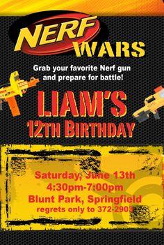 NERF Birthday Invitations Custom UPRINT by withthatsmile on Etsy, $15.00
