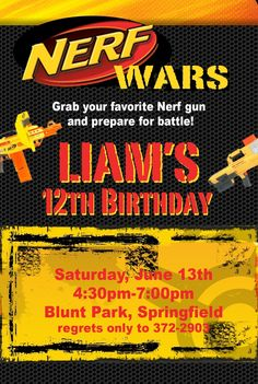 Nerf War Birthday Party Invitation Idea