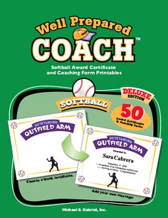 Sports awards bundle certificates ballots eight different softball award certificates templates for softball certificates and coaching forms personalize and distribute to players and their parents pronofoot35fo Choice Image