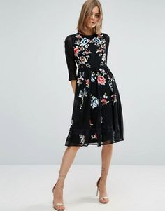 ASOS PREMIUM Midi Skater Dress with Floral Embroidery