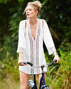Vintage Embroid Beach Cover Up Newest Women Summer Dress Hot Sale Swimsuit Cover Up Summer Dresses For Women, Summer Outfits, Cotton Tunics, Women's Fashion Dresses, Dresses Dresses, Cheap Dresses, Beachwear, Women's Swimwear, Cover Up