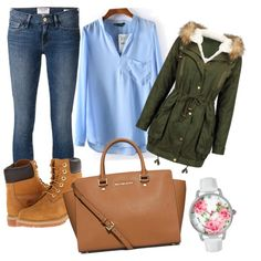 A fashion look from March 2015 featuring Frame Denim jeans, Timberland boots and MICHAEL Michael Kors handbags. Browse and shop related looks.