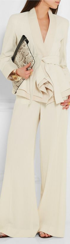DONNA KARAN NEW YORK 2016...Love the cream palette and the drapey pants... Very classic with a contemporary twist