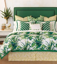 Tropical Dreams | tropical beachy beach coastal banana leaf pattern | emerald green citrus yellow | luxury bedding | high-quality interior designer Celerie Kemble for Eastern Accents | fun feminine whimsical girly | island getaway paradise | 300 thread count fine linen sheets sheeting | shams bed skirt pillowcase sheet decorative accent throw pillows duvet cover comforter | bobble trim linen flange custom monogram | hand-painted | Made in the USA | Chicago