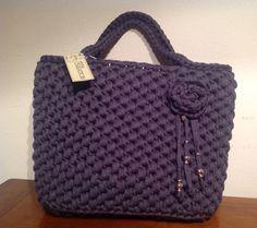 Borsa shopping blu #bag #borsa #blue #fettuccia