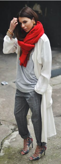 Light grey shirt, grey pants, white maxi cardigan, red scarf, heels, gold earrings and rings and bracelets