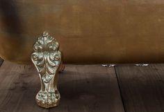 A variegated bronze leaf finish.  #bathtubs #baths #bathrooms #luxurybathrooms #bespoke baths #interiordesign #bathroomdesign #gilding #copperleaf #goldleaf #luxurybathrooms Cast Iron Bath, Copper Bath, Roll Top Bath, Bathtubs, Outdoor Furniture, Outdoor Decor, Gold Leaf, Bathroom Accessories, Bespoke