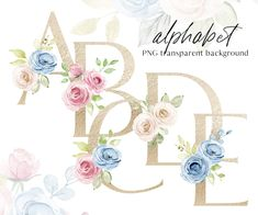Painted Letters, Hand Painted, Flower Letters, Blue Bouquet, Free Advertising, Alphabet And Numbers, Print Templates, Watercolor Flowers, Planner Stickers