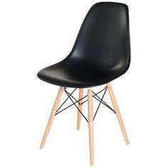 Canac - 49$ Chaise de salle à manger avec siège et dossier en polypropylène. Pattes en bois de hêtre avec armature métallique. Quincaillerie et guide d'assemblage inclus. Assemblage facile. Noir.