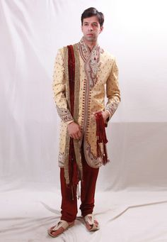 Buy Cream Brocade Readymade Sherwani 204370 online at lowest price from our mens wear collection at Indianclothstore.com. Western Union Money Transfer, Wedding Sherwani, How To Dye Fabric, Color Shades, Lehenga Choli, Snug, Designer, Tights, Menswear