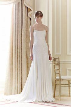Jenny Packham Spring 2014 Romantic Straps Bridal Dress. Style Taylor Embellished, Floor-length, Straps, Train, Jewelled, Silk, Elegant, Romantic