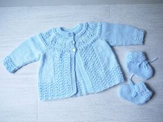 Hand Knitted Baby Jacket & Matching Booties: Newborn - 3 Months Size