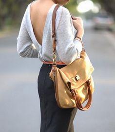 love deep back sweaters & foldover bags
